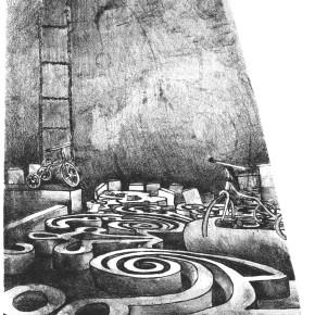 """OLIVERA, Marisú - """"Laberintos la salida"""" - Litografía – 30 x 50cm."""